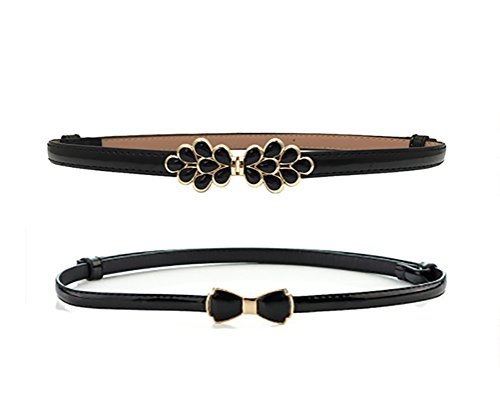 Women Slim Waist Belt Adjustable Fashion Chic Buckle Pack of 2 (L, E) 0.5' Wide Leather