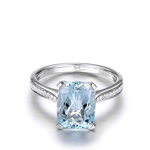 Erllo 6ct Cushion Cut Natural Sky Blue Topaz Wedding Band Anniversary Engagement Ring 925 Sterling Silver