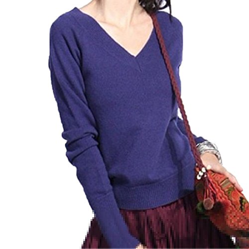Teamoluna Women Long Sleeve V-Neck Pullover Cashmere Sweaters Purple(US,XS/Asia,S) (Sahalie Cardigan)