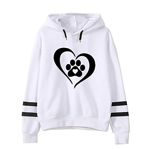 Sunhusing Womens Dog Claw Love Heart Print Hooded Sweater Drawstring Long Sleeve Pullover Top ()