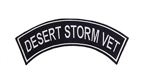 DESERT STORM VET Black w/ White Top Rocker Iron On Patch for Motorcycle Rider or Bikers Veteran Vest Desert Storm Vet Patch