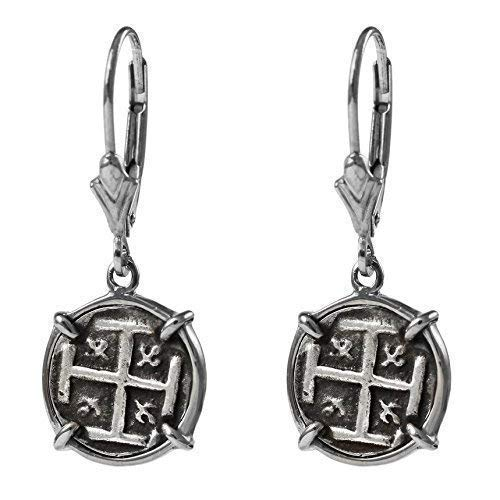 Genuine 100% Atocha Silver Historical Spanish Replica Coin Earrings - Available in 14kt Gold or 925 Sterling Silver Frame - Includes Certificate of Authenticity ()