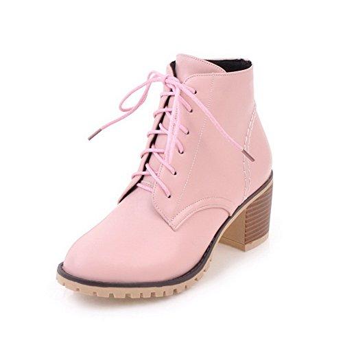 AgooLar Damen Mittler Absatz PU Rein Rund Zehe Stiefel, Pink, 42