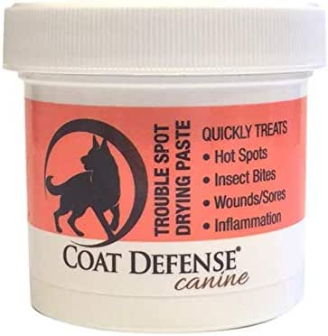 Coat Defense Trouble Spot  Drying Paste | Anti Fungal Anti Bacterial Dog Skin Treatment For Hot Spots, Itchy Skin, Skin Allergies, Dermatitis Inflammation, Insect Bites, Wounds And Sores | Made In USA