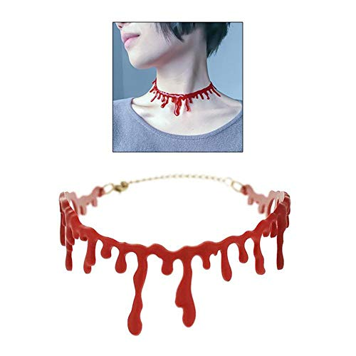 Hakazhi Inc Party DIY Decorations - Horror Bleeding Necklace for Halloween Masquerade Party Horror Simulated Blood Necklace for Halloween Cosplay Party Horror Props]()