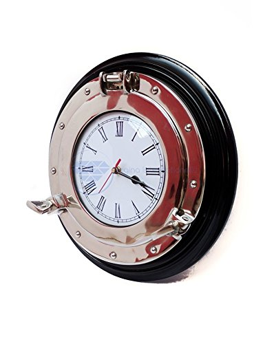 Silvery-White Lustrous Aluminum Metal Nickel Coated Premium Nautical Porthole Roman's Time Clock On Semi-Gloss Black Wooden Base (16 Inches, (Brass Lighthouse Bookends)