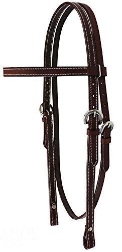 Tahoe Double Stitched Leather Browband Headstall for Daily Use Full Size, Medium Oil