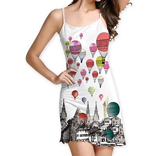 (RAINED-Women's Summer Spaghetti Strap Sundress Sleeveless Beach Slip Dress Boho Printed Short Mini Dress Party Dress)