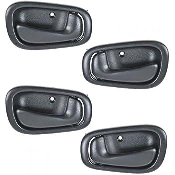 98-02 Chevrolet Prizm Rear Outside Door Handle Smooth Black Pair Set