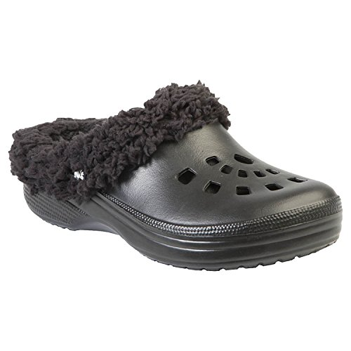 DAWGS Women's Fleece Dawgs Indoor Outdoor Fluffy Clogs Slippers,Black/Black Fleece,10 M US Fleece Lined Clogs