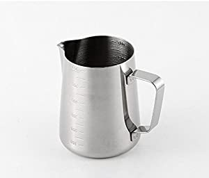 iCoffee Milk Frothing Pitcher 20 oz (600 ml) HEAVY 1.2MM Thickness FOODGRADE 18/10 Stainless Steel with INDELIBLE Measurements on BOTHSIDES for Coffee Espresso Maker Milk Frothing Steaming Pitcher