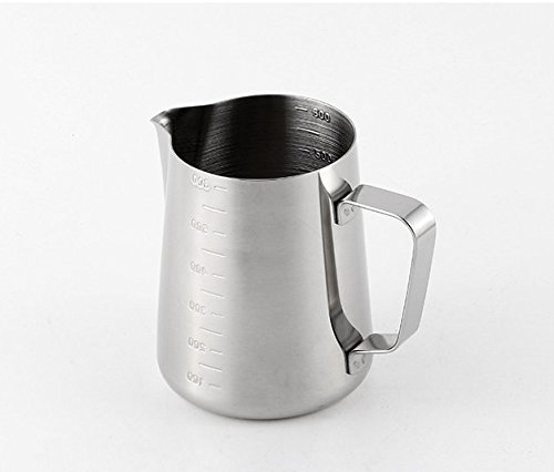 iCoffee Milk Frothing Pitcher 20 oz (600 ml) HEAVY 1.2MM Thickness FOODGRADE 18/10 Stainless Steel with INDELIBLE Measurements on BOTHSIDES for Coffee Espresso Maker Milk Frothing Steaming Pitcher by iCoffee Brand (Image #7)