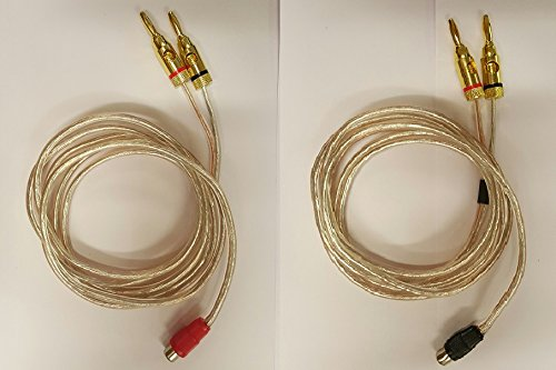 16 AWG Speaker wire pair with RCA Female (Black & Red) to 2 pair Banana Plugs