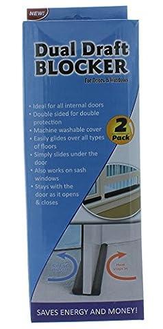 Dual Draft Blocker Twin Breeze Stopper Door and Window 2 Pack (Double Sided Breeze Blocker)