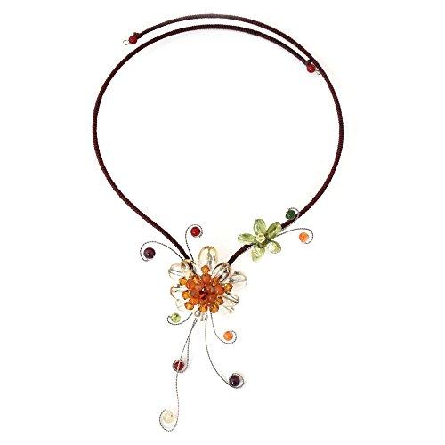 NOVICA Multi-Gem Citrine Stainless Steel Choker Necklace, 17