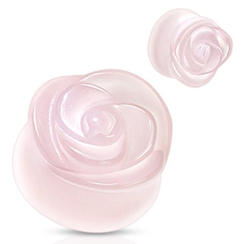 Rose Quartz Semi Precious Stone Rose Carved on Single Side Double Flared WildKlass Plug (Sold as a Pair)