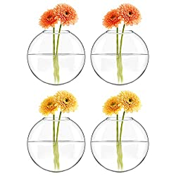 Mkono 4 Pack Glass Wall Hanging Planter Wall Mount