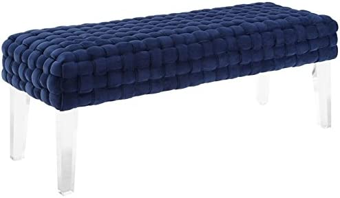 TOV Furniture The Sal Collection Modern Style Woven Velvet Upholstered Living Room Accent Bench