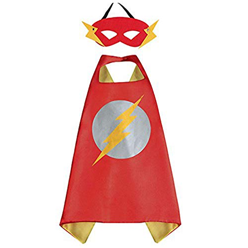 White sugar in summer Christmas Superhero Costume and Dress Up for Kids - Satin Cape and Mask (Flash)