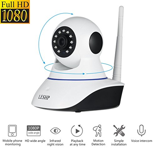LESHP 1080P Wireless IP Camera Full HD WiFi Home Security Surveillance System Night Vision for Baby / Elder / Pet / Nanny Monitor, Pan/Tilt/Zoom, Two-Way Audio, P2P Cloud Technology Wireless Binding