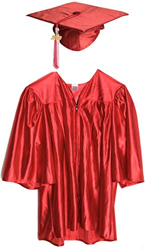 Medium Red Shiny Preschool and Kindergarten Graduation Cap and Gown, Tassel and 2019 Charm ()