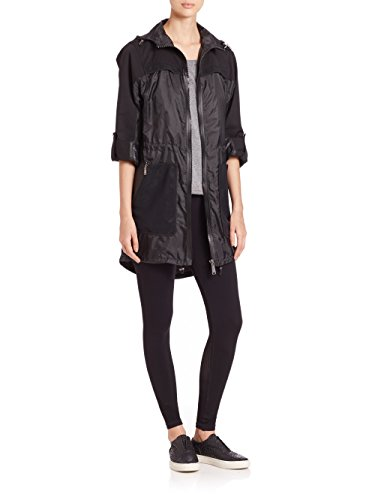 Elie Tahari Women's Black Molly Packable Long Sleeve Trench Coat Jacket, X-Small