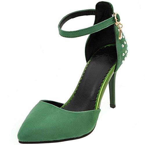 COOLCEPT Mujer Moda Correa de Tobillo Sandalias Tacon Delgado Alto Cerrado Zapatos Tamano Verde