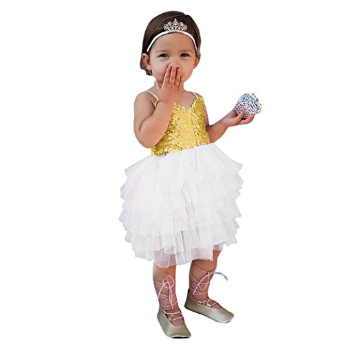 GoodLock Baby Girls Fashion Dress Kids Sequins Sundress Prin