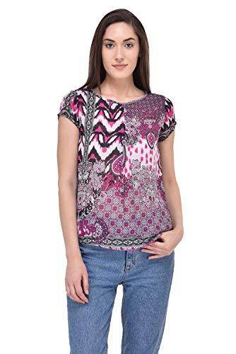 mayra Women #39;s Georgette Multi Color Short Sleeve Top