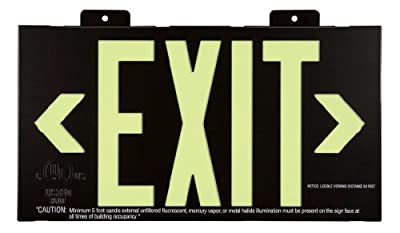 Jessup Glo Brite 7002-B 8-Inch by-15-Inch Double Face Non Electrical, Glow-in-the-dark (Photoluminescent) Eco Exit Sign with Bracket, Black