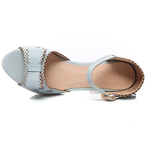 Coolcept Women Fashion High Heel Sandals with Bow Blue ObenSy