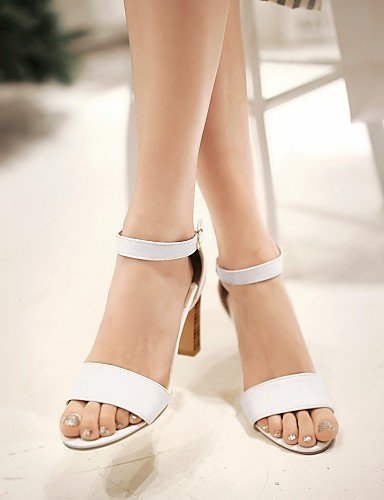 Leatherette Toe Black Sandals Chunky White amp; Evening Career Outdoor Women's Pink Peep amp; Heel Party Shoes ShangYi Black Office HEYSfqwH
