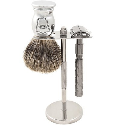 Parker 22R Safety Razor Shave Set - Includes Pure Badger Brush, Stand & Parker 22R Butterfly Open Safety Razor Parker Safety Razor