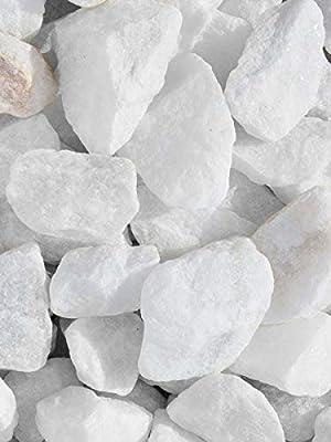 Grava blanca pura mármol. Marmolina blanca, piedra para decoración en jardín en sacas de 500kg. Disponible en formatos 9-12mm y 16-25mm. (16-25mm): Amazon.es: Jardín