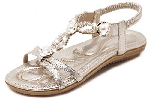Yooeen C Sandalias Planas Vestir Abalorios Elegante Sandalias Mujer Rhinestone de Estilo Boho OxaOHw