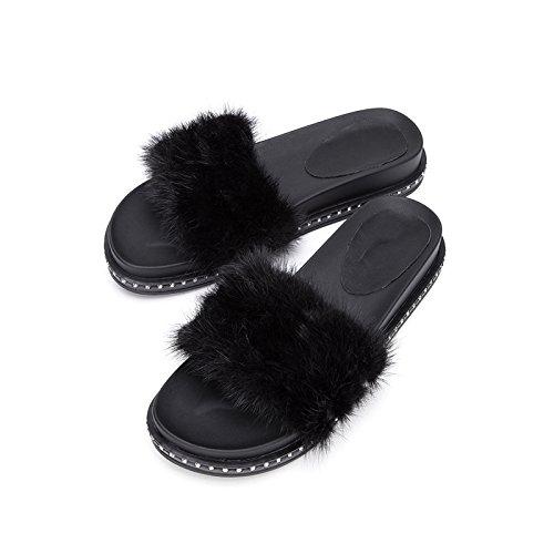 Sandali con Sandali basso tacco DHG alti basso piatti donna Pantofole a casual moda tacco estivi Nero 39 da alla Sandali Tacchi PfPwvx0A
