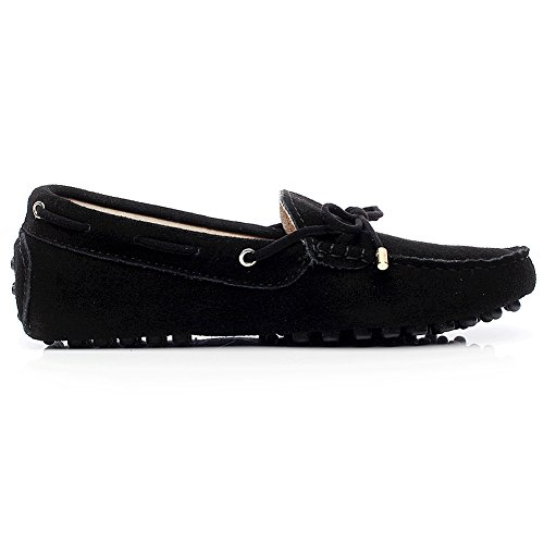 Jamron Women Comfort Suede Moccasin Slippers Boat Shoes with Bow Tie Black uBwjbuLXqc