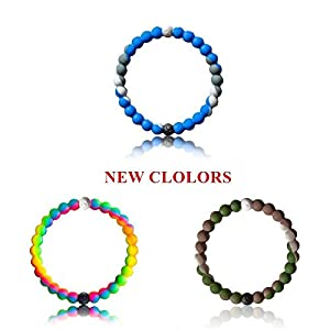 Silicone Bracelets Bangles Mud From Dead Sea Water From Mt Everest Friendship Bracelets (New Colors, Large)