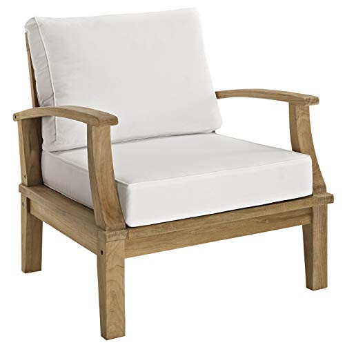 Modway EEI-1143-NAT-WHI-SET Marina Premium Grade A Teak Wood Outdoor Patio Armchair, Natural White