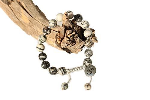 Adjustable Mala Bracelet for Women - Black Veined Jasper Mala Bracelet - Mala Beads Bracelet - Black Gemstone Bracelet for Women ()