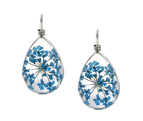 (Heavens Jewelry 2 Pieces Blue Dried Flowers ENCASED in Glass Teardrop Shape Charm Pendant for A Necklace Earrings ETC)