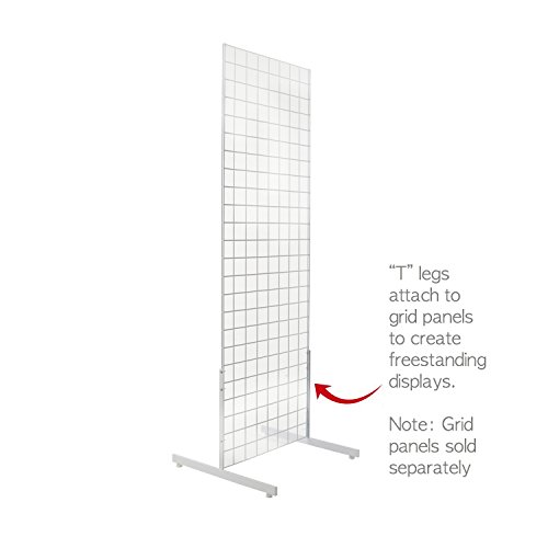 White Gridwall T Base Rectangular Tube With Levelers (Set of 3 Pairs) White Finish … by Only Hangers (Image #2)