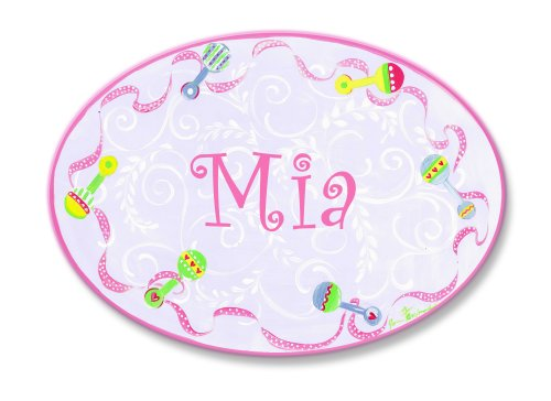 The Kids Room by Stupell Mia, Pink with Multi-Colored Rattle Border Personalized Oval Wall - Baby Girl Plaque