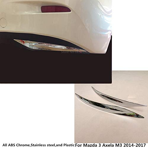 Bingo Point for Mazda 3 Axela M3 2014 2015 2016 2017 car Styling Body Rear Back Bumper Corner Protection Trim Frame Edge Board ABS Chrome by Bingo Point (Image #6)