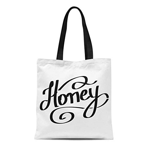 Semtomn Cotton Canvas Tote Bag Yellow Badge Honey Lettering Bee Bio Bumble Cafe Color Reusable Shoulder Grocery Shopping Bags Handbag Printed