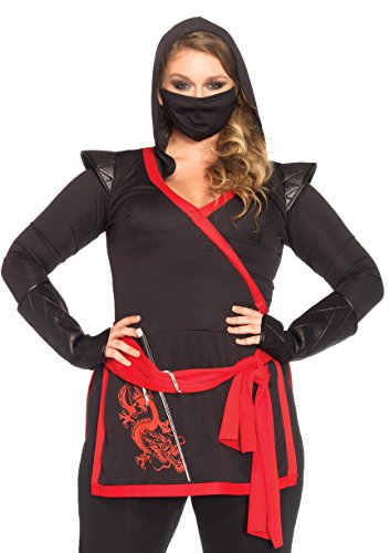 Leg Avenue Women's Plus-Size 4 Piece Ninja Assassin Costume, Black/Red, 3X 2018