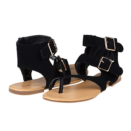 DREAM PAIRS TRENTCH Women Fashion Gladiator Double Buckle Toe Ring Flat Ankle Summer Sandals,Black,7.5 B(M) (Double Strap Gladiator Sandal)