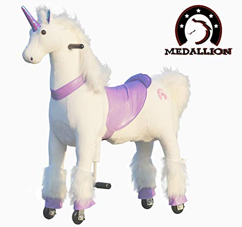 Medallion - My Pony Ride On Real Walking Horse for Children 5 to 12 Years Old or Up to 110 Pounds (Color Medium Purple Unicorn) for Girls 5 to 12 Years Old ()