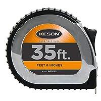 Cinta métrica Keson PG1835 Chrome Series con hoja de acero revestida con nailon (graduaciones: pies, pulgadas, 1/8), 1 pulgada por 35 pies