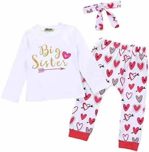 caefc2cbf67 Baby Girls Family Matching Clothing Set Little Big Sister Romper Shirt  Tops+Gold Heart Long